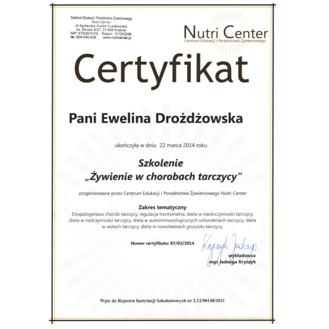 """Certyfikat – szkolenie """"Żywienie w chorobach tarczycy"""""""