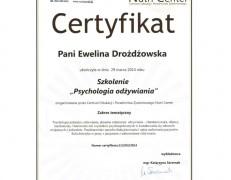 """Certyfikat – szkolenie """"Psychologia odżywiania"""""""