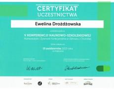 Certyfikat uczestnictwa – żywność w zdrowiu i chorobie