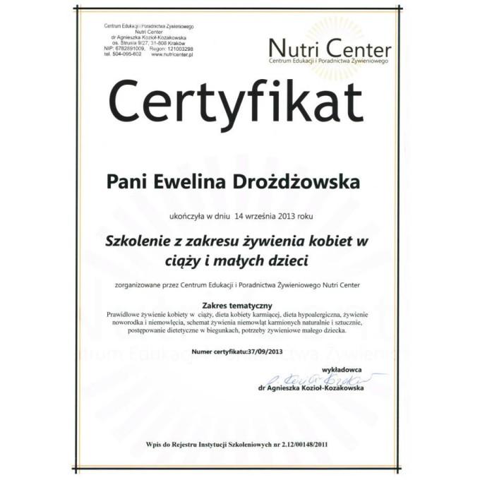 Certyfikat – szkolenie z zakresu żywienia kobiet w ciąży i małych dzieci