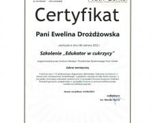 """Certyfikat – szkolenie """"Edukator w cukrzycy"""""""