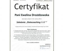 """Certyfikat – szkolenie """"Dietocoaching I i II"""""""