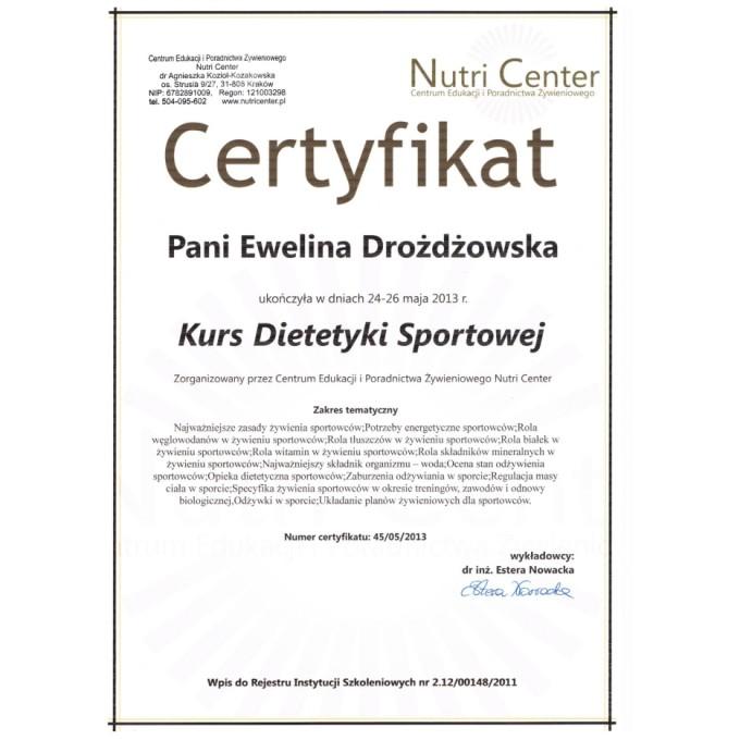 Certyfikat – Kurs Dietetyki Sportowej