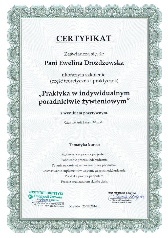 """Certyfikat – szkolenie: """"Praktyka w indywidualnym poradnictwie żywieniowym"""""""