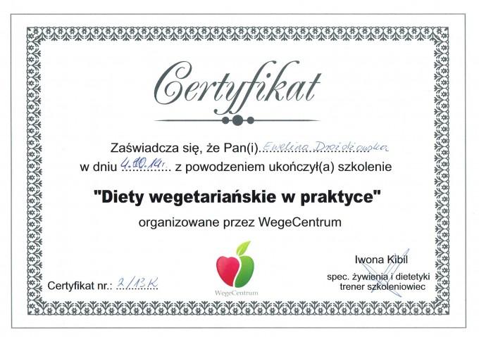 """Certyfikat – szkolenie: """"Diety wegetariańskie w praktyce"""""""