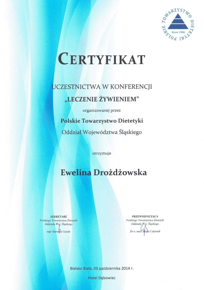Certyfikat uczestnictwa – leczenie żywieniem