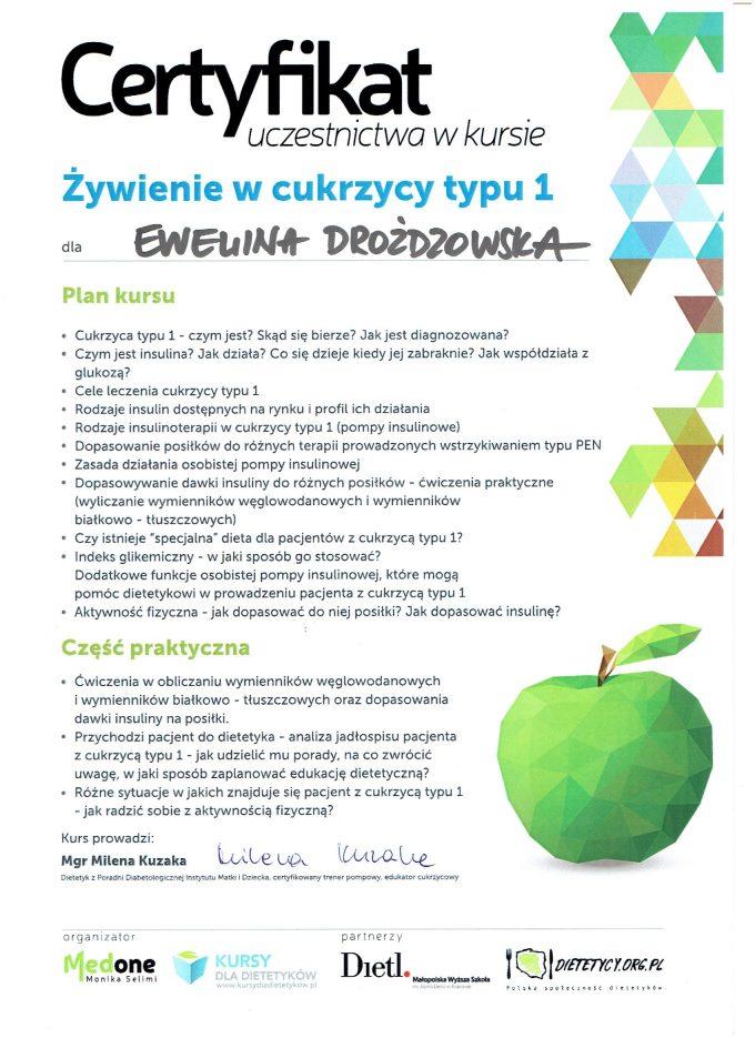 """Certyfikat – kurs """"Żywienie w cukrzycy typu I"""""""